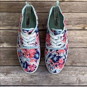 Charlotte Russe Tropical Print Canvas Sneakers
